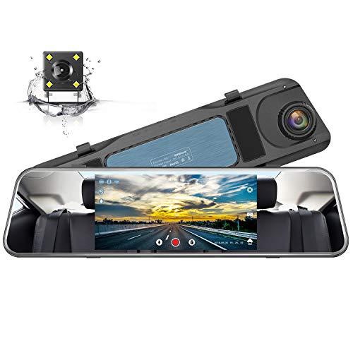 (Campark Backup Camera 1080P Mirror Dash Cam 5 inch Touch Screen Rearview Front and Rear Dual Lens Dashboard Recorder with Waterproof Reversing Camera )