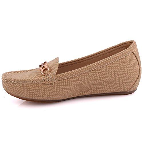 Unze Damen Passo Strukturierte Schickem Design Flats Slipper Babe Bequeme Mokassins Schlupf an der Pumpe Loafer Schuhe Größe 3-8 - MT81732A Beige