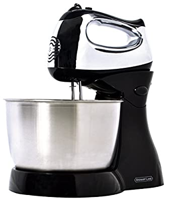 Stewart Lane Easy-To-Use (2-In-1) Tilt-Head Stand Mixer / Detachable Hand Mixer, Powerful 200-Watt 5-Speed Electric Motor, 3.2 Quart Stainless Steel Bowl 2 Chrome Beaters 2 Chrome Dough Kneading Hooks
