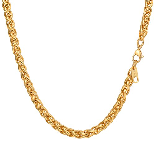 PROSTEEL 18K Gold Plated Wheat Chain Necklace Twisted Foxtail Woven Chain Mens Women Jewelry 6mm Hiphop Gold Chain for (18k Wheat Necklace)