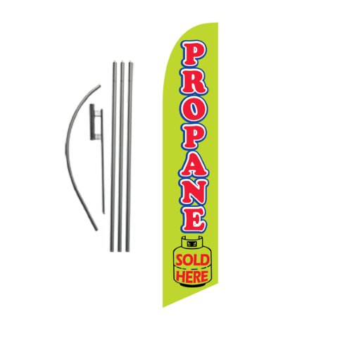 (Propane Sale Advertising Feather Banner Swooper Flag Sign with Flag Pole Kit and Ground Stake)