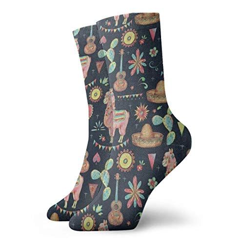 (Crew Socks Mexican Watercolor Llama Sun Cactus Cool Womens Stocking Party Sock Clearance For Girls)