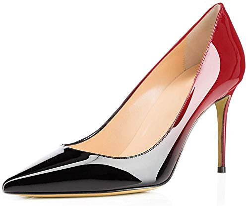 Ayercony Pumps for Woman, Kitten Heel Pumps Slip on high Heel Pointed Toe Shoes for Dress Office Black Red Size 8 US