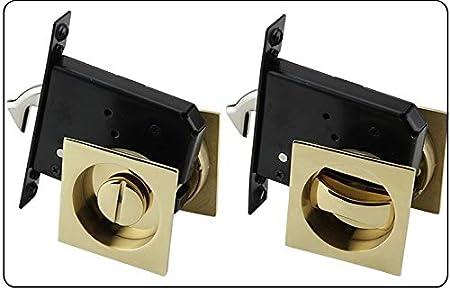 Manillas para puertas Bed Bath sin llave cerradura de puerta Cerradura embutida Conjunto ras de tracción empotrada anillo doble cara de escape Redondos Pomo Puerta (Color : Square Golden)