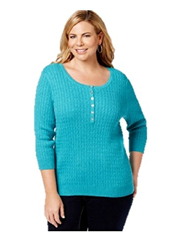 Karen Scott Womens Plus Cable Knit Marled Henley Sweater Blue 1X ()