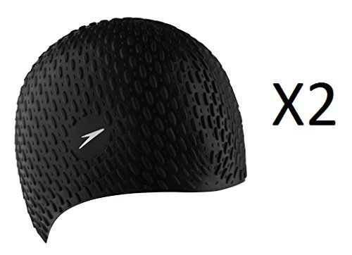 Speedo Silicone Textured Bubble Swim Cap, Black, UV Protection Flexible (2-Pack)