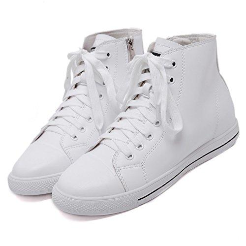 KPHY-El Periodo De Primavera Y Otoño Zapatos Altos Zapatos De Mujer Cremallera Lateral Corbata Zapatos Todos Coinciden De Talle Alto Zapatos De Ocio. white