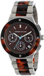 Kenneth Jay Lane Women's KJLANE-2115  Chronograph Brown Sunray Dial Stainless Steel and Brown Tortoise Resin Watch