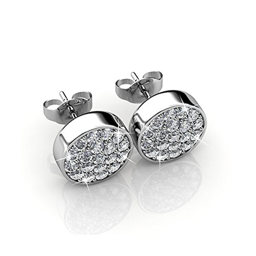 Cate & Chloe Nelly 18k White Gold Pave Swarovski Earrings, Swarovski Stud Earrings msrp (Gold Designer Earrings)