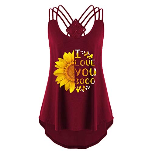 (Womens Flowy Vest Top Bandages Tank Top Sunflower Print Sleeveless Backless T-Shirts (Red,)