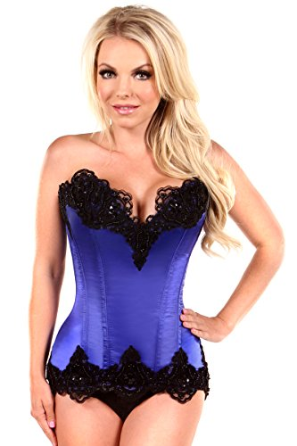 Daisy Corsets Women's Top Drawer Satin and Lace Beaded Steel Boned Corset, Blue, X-Large