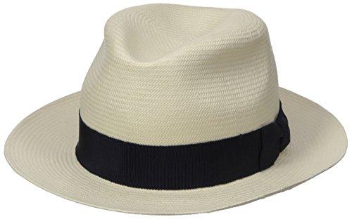 Hickey Freeman Men's Toyo Straw Fedora Hat, White/Navy, 59