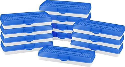 Storex Stretch Pencil Box, 5.6 x 13.4 x 2.52 Inches, Blue, Case of 12 (61467U12C) by Storex