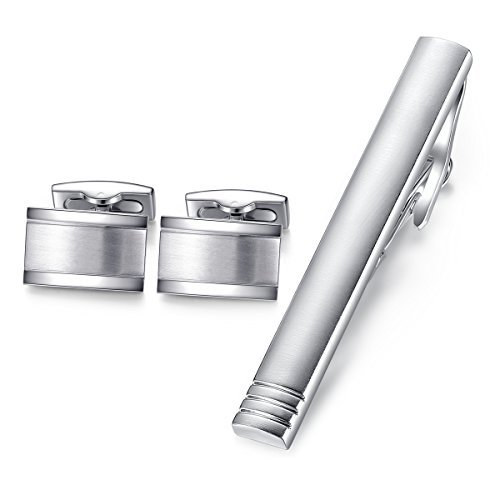 HONEY BEAR Rectangle Cufflinks Tie Clip Set Mens Business Wedding Gift Silver Without Box