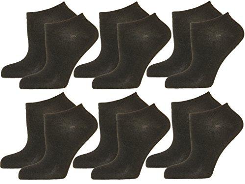 12 Paar DAMEN-HERREN Sneaker-Socken in den Farben WEISS oder SCHWARZ. Füßlinge mit hohem Baumwoll Anteil 39/42,Schwarz