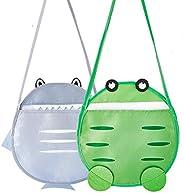Mesh Beach Tote Bag,2 Pack Cute Kids Sea Shell Bags,Seashell Mesh Tote,Beach Toy Bag,Nets Bag for Kid Beach To
