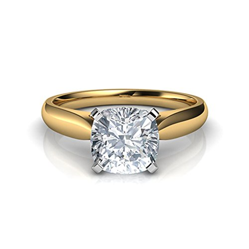 (Silvergemking 1.50Ctw Cushion Cut Clear CZ Diamond 14K Yellow Gold Pl Cathedral Solitaire Engagement Ring)