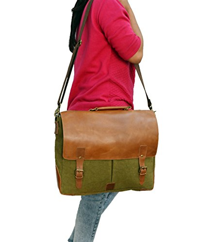 Laptop Messenger & Briefcase 17.3'' Bag, Office Bag for Men/Womens Shoulder Bag fit for Macbook/Dell/Hp/Lenovo/Acer/Asus Laptop (17.3 inch, Army Green) by Mythical Craft (Image #3)