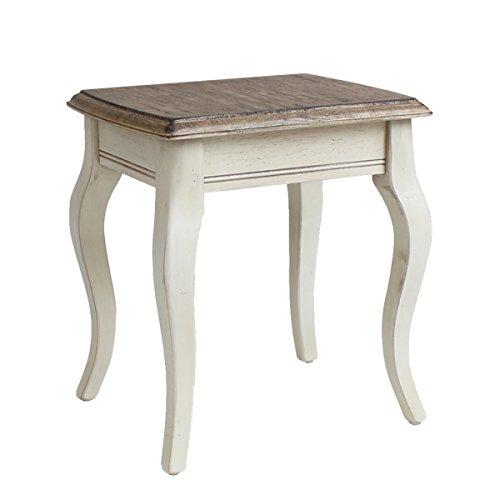 アンティーク調 サイドテーブル Sサイズ W約33.5×D約27×H約36.5cm ホワイト 花台 ネストテーブル アンティーク家具 木製 テーブル アンティーク風 アンティーク インテリア 家具 ベッドサイドテーブル シャビーシック シャビー 白 antiqueh01whs B01EUNRK78