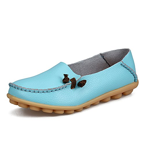 Fashion Genuine fereshte Slip Driving Leather Womens Moon Soft Shopping Loafers Shoes Casual on soled Flat for pRqUA5xnRF