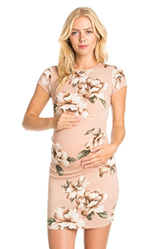 My Bump Women's Various Printed Slim Fit Maternity Dress(Made In USA) (X-Large, Great Blush Flower) Great Maternity Clothes