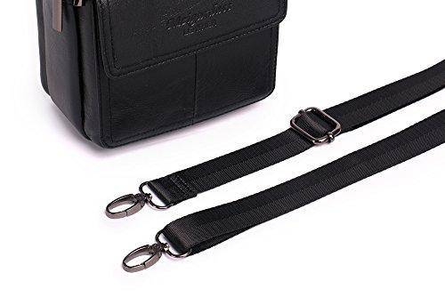 Meigardass Men's Genuine Leather Small Messenger Bag Shoulder Bag Briefcase Handbag (black) by Meigardass (Image #4)