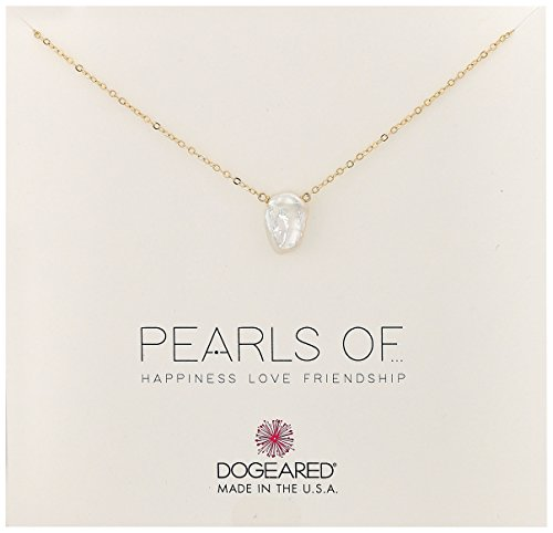 Dogeared Small Keshi Pearl Gold Chain Necklace, 16