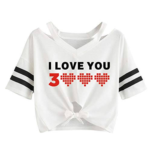 Respctful ♫♫Women's Casual Round Neck Short Sleeve Times prinCrop Top T-Shirt for I Love You 3000 Times Clothing White
