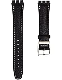 Genuine Leather Watch Band Designed for Swatch Watch, Black with White Stitch, 17mm