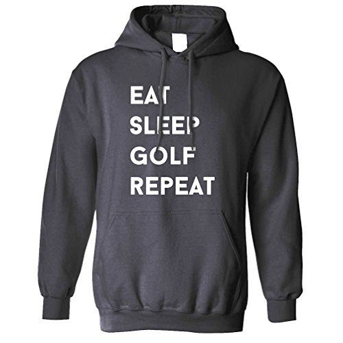 - Tim And Ted Funny Sports Unisex Hoodie Eat, Sleep, Golf, Repeat Slogan Charcoal XS