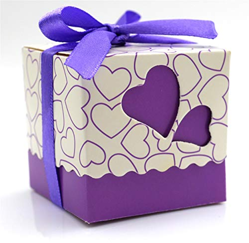 Patty Both DIY Love Heart Candy Gift Boxes Wedding Bridal Favor Wedding Party Decor Kit 50pcs Purple