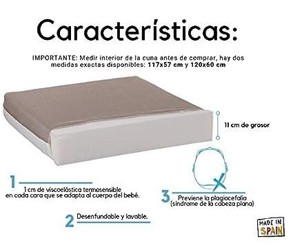Colchon cuna 60x120 viscoelástico desenfundable dos caras Varias Medidas Fabricado en España (120x60 cm): Amazon.es: Bebé