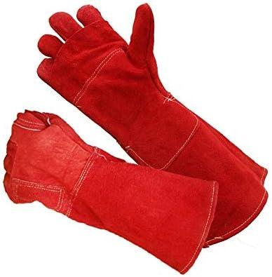 """労働保護作業用手袋 メンズ作業用手袋抗ブランク抗咬傷高温機械式溶接機ロンググローブ、16.5"""" (Color : Red, Size : L)"""