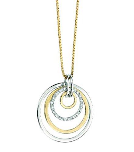 Or blanc et or jaune 9ct 4Cercle Pendentif Goutte avec détails Diamant