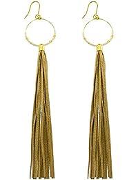 Womens Hoop Beige Tassel Earrings, One Size