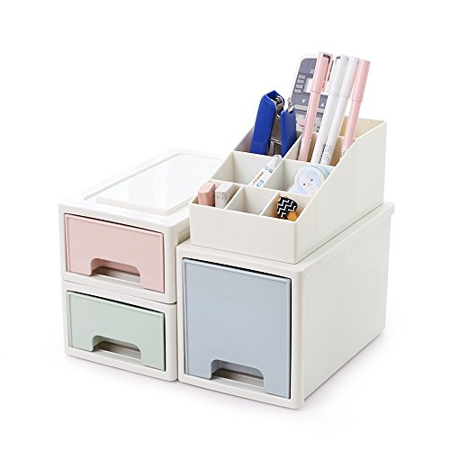 BaiNa Plastic Desk Organizer with Stackable and Extra Deep Drawers Desktop Storage Box Holder for Cosmetic Brushes,Palettes、 Office Stationery, Gift for Daughter Mother Friends by BaiNa