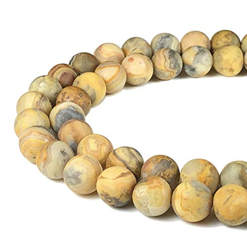 [ABCgems] Matte Mexican Honey Crazy Lace Agate (Exquisite Matrix) 8mm Smooth Round Beads for Beading & Jewelry ()