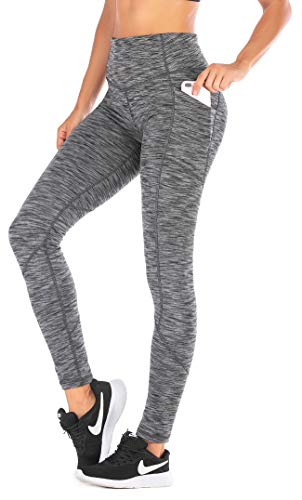 Ewedoos Yoga Pants with Pockets for Women Ultra Soft Leggings with Pockets High Waist Workout Pants (Space Dye Gray, Small)