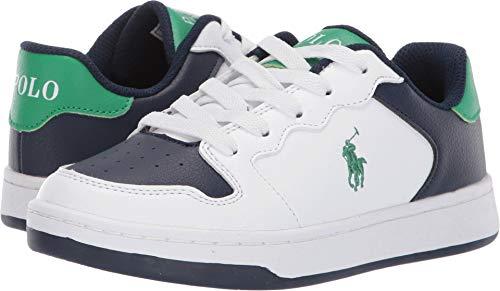 Polo Ralph Lauren Kids Boy's Jessup (Little Kid/Big Kid) White/Navy Tumbled/Green/Green Pony 5 M US Big -
