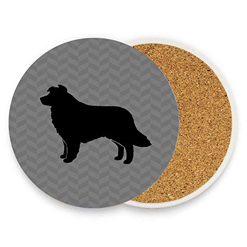 1 Pieces Absorbent Stone Coasters for Drink, Ceramic Stone Coasters with Cork Backing - Border Collie Silhouette(S)