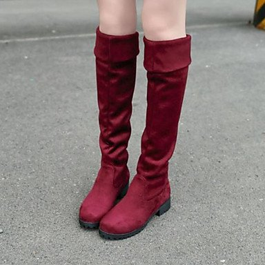 Inverno 4in Blue Boots 1 Xuezi Heel Casual 3 Gll in 1 Pu Women Comfort Black For Autunno Bordeaux Chunky YUxBRqH