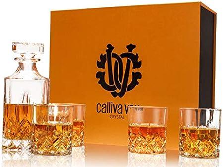 calliva von Jarra y Vasos de Whisky, 750 ml Decantador de Whisky Cristal Sin Plomo con 4 Copas de Whisky 300 ml, 5 Piezas