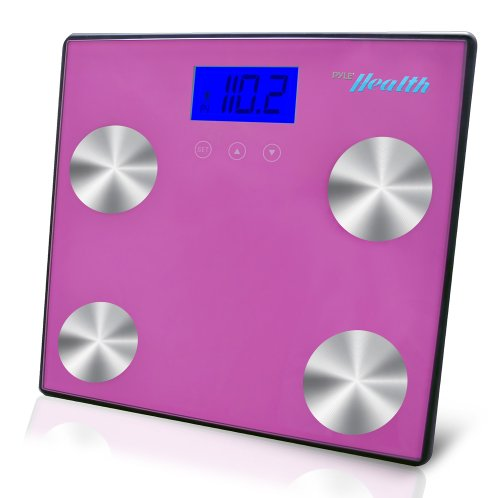 Pyle PHLSCBT4PN Bluetooth Digital Weight Personal Health Scale with Wireless Smartphone Transfer, Pink
