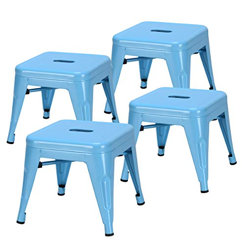 - Costzon Kids Metal Stool w/Safety Rounded Corners & Rubber Pads, Metal Bar Stool, Portable Kids Step Stool w/X-Brace and Wire Edge, Ideal for Baby Room, Bedroom, Bathroom & Kitchen (Blue, Set of 4)