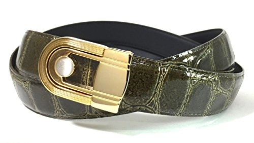 EDNA Bonded Leather Crocodile Skin Print Dress Belt Olive Green