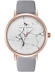WRISTOLOGY Olivia Womens Real Marble Rose Gold Boyfriend Watch Gray Leather Band
