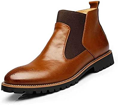 Men's Genuine leather Chelsea Boots Square Heel Patchwork Anti Skidding waterproof Trendy Martin shoes Men's leather shoes Tooling short boots