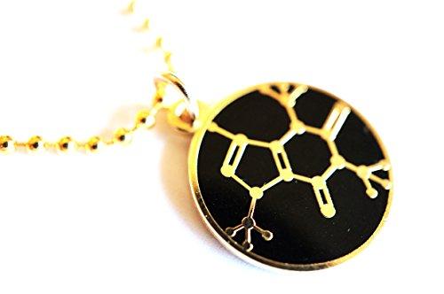 CAFFEINE MOLECULE Chemistry Coffee Tea Soda Pendant Necklace w/ Chain