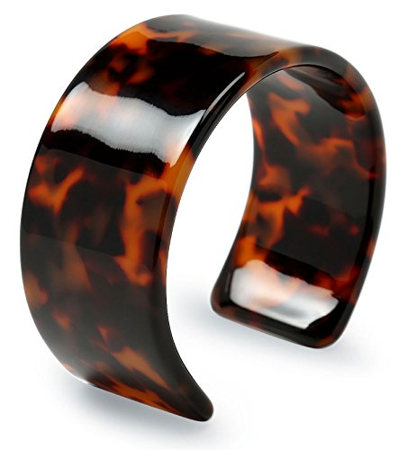 Fashion Brown Golden Acrylic Tortoise Shell Wide Cuff Bangle Bracelet for -