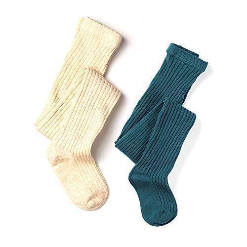 School Kids Girls Cotton Knit Rib Tight (Rib Oatmeal & Turquoise, 5-6y Height 41